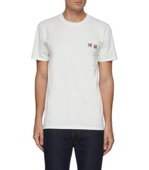 double fox head embroidered patch cotton t-shirt
