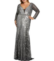 plus size women's mac duggal starburst sequin long sleeve trumpet gown, size 18w - metallic