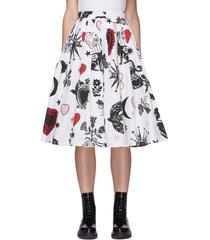 papercut print pleated a-line midi skirt