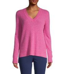 cashmere v-neck high-low sweater