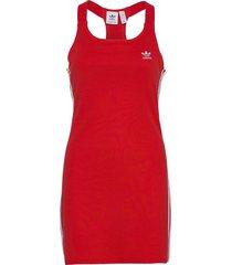 adicolor classics racerback dress w kort klänning röd adidas originals