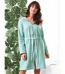 badjas van 100% katoen met capuchon van peter hahn groen