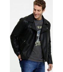 jaqueta masculina biker bolsos mr