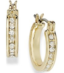 charter club gold-tone crystal mini hoop earrings
