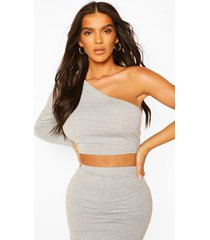 one shoulder crop top, grey