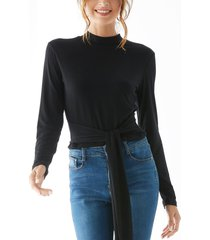 black tie-up design stand collar long sleeves tee