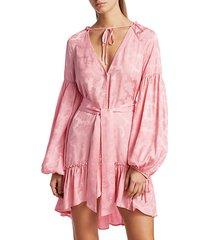 silk blend blouson-sleeve mini dress