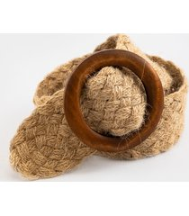 women's quinn circle wood braided belt in natural by francesca's - size: l