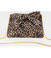 lizzy leopard pleated bow clutch - leopard