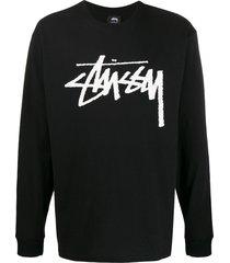 stussy logo long-sleeeve sweatshirt - black