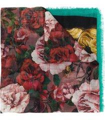 dolce & gabbana rose-print lightweight scarf - green