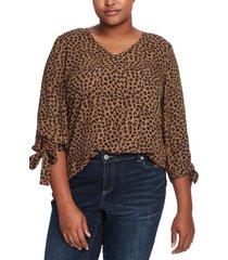 plus size women's cece animal cluster tie sleeve blouse, size 3x - beige