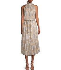 iro women's laza shimmer floral belted dress - beige - size 38 (6)