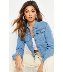 slim fit jean jacket, mid blue