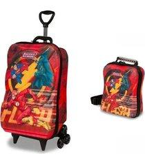 mochila escolar 3d com lancheira maxtoy liga da justiça