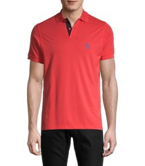 tom & teddy men's solid supima cotton polo - cayenne - size m