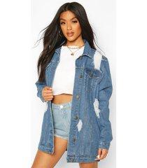 distressed longline jean jacket, mid blue
