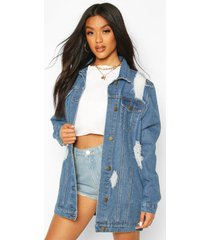 distressed longline denimjack, middenblauw
