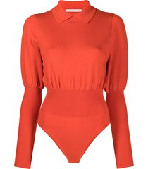 live the process knit polo bodysuit - red