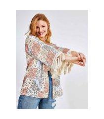kimono patchwork bandana com franjas