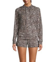 tart women's mila 2-piece animal print hoodie & shorts set - leopard - size l