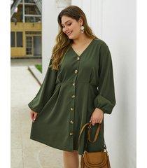botón verde militar talla grande diseño vestido