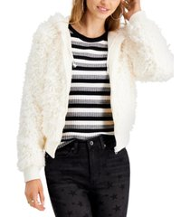say what? juniors' faux-fur hooded jacket