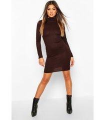 rib knit roll neck long sleeve mini dress, chocolate