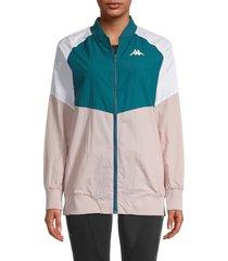 kappa women's colorblock full-zip jacket - blue pink - size xl