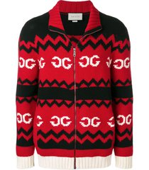 gucci mirrored gg wool jacket - black