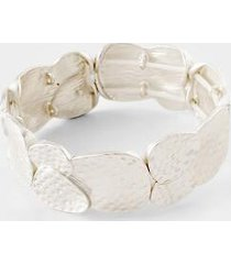 adriena textured stretch bracelet - silver