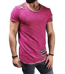 verano de algodón camiseta de los hombres de la moda del agujero de-rojo