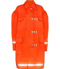 calvin klein 205w39nyc fireman reflective-trim cotton jacket - orange