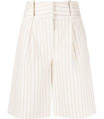 federica tosi high-waisted textured stripe shorts - white