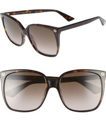 women's gucci 57mm gradient square sunglasses - havana/ brown