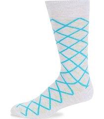plaid argyle cotton-blend socks