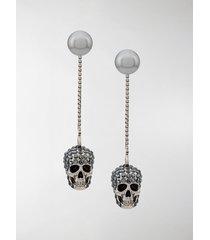 alexander mcqueen skull embellished drop earrings