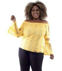 blusa blusa ombro a ombro com forro . predilects - plus size feminino amarelo ombro a ombro com forro predilects amarelo