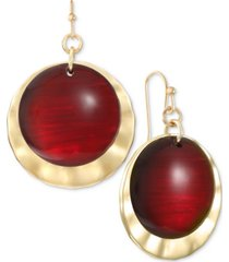 style & co gold-tone disk & stone drop earrings, created for macy's