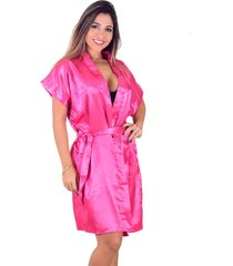 robe vip lingerie acetinado rosa