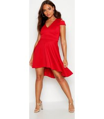 bardot plunge high low skater dress, red