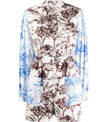 msgm illustration print long-sleeve playsuit - white