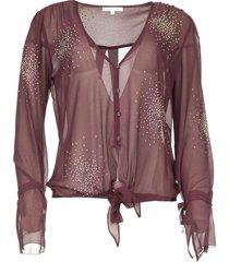 blouse met gekleurde strass steentjes rina  paars