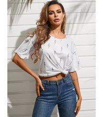 yoins flash camiseta con estampado gráfico cuello camiseta con mangas cortas