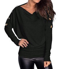 buttoned dolman long sleeve casual tee