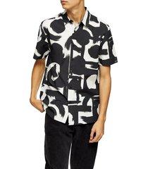men's topman abstract short sleeve seersucker button-up shirt