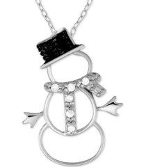 "black & white diamond (1/10 ct. t.w.) snowman 18"" pendant necklace in sterling silver"