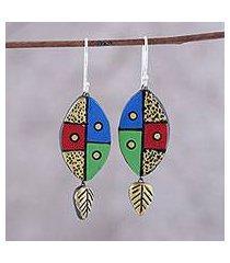 ceramic dangle earrings, 'blissful colors' (india)
