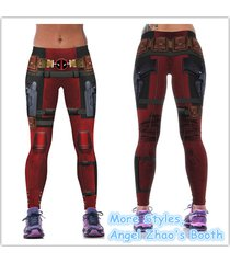 woman fitness deadpool leggings simple cosplay capris pants workout tights