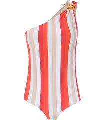 amir slama one shoulder swimsuit - red